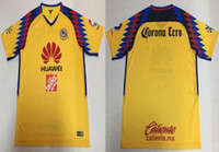 Wholesale Wholesale Jersey S America - New arrive 2018 Club America home yellow soccer jersey 2018 2019 Mexico Club America home O.PERALTA C.DOMINGUEZ soccer jersey football shirt