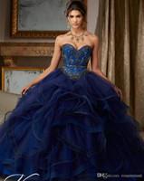 ingrosso vestido regale debutante-Abiti Debuttante Royal Blue Beaidng Sweet 16 Abiti Quinceanera Abiti Ball Gown Per compleanno Paty Vestido Para 15 Anos