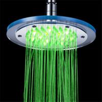 chuveiros de chuva venda por atacado-8 polegadas LED cabeça de chuveiro luz mudando 7 cores de poupança de água do banheiro Rain Handheld Spa Heads