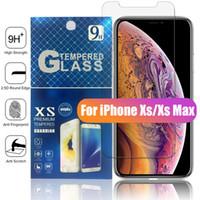 iphone 5s or pleine couverture achat en gros de-Pour le NOUVEAU Iphone X XR XS MAX X 8 7 Plus Protecteur d'écran en verre trempé Anti-empreintes digitales pour Samsung S8 S7 Edge Paquet de papier