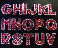 letras rojas de diapositivas de diamantes de imitación al por mayor-130pcs-260pcs 8mm Full Red Color Rhinestone alfabeto inglés A-Z cartas de la diapositiva encantos de DIY caben 8 mm tiras de la pulsera del collar del animal doméstico