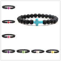 ingrosso braccialetti di stirata fatti a mano-Braccialetto di fascino trasversale 8MM Braccialetti di perlina opaco Handmade Uomini Donne Preghiera Beads Yoga Stretch Bracciali gioielli