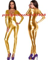 traje de cuerpo vestido sexy al por mayor-Sexy Gold Shiny Metallic Traje Catsuit Disfraces Sexy Mujeres V-Collar traje de cuerpo Disfraces Halloween Party Fancy Dress Cosplay Disfraces P339