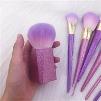 Wholesale purple kabuki brush for sale - Group buy 2018 Purple Glitter Makeup Brush Set Kabuki Face Fan Powder Contour Eyeshadow Brush Set DHL