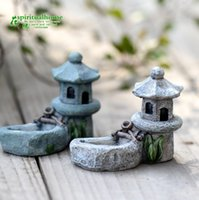ingrosso mini figurine-Mini Retro Pond Tower Craft Fairy Garden Decor Figurine Micro paesaggio giocattoli
