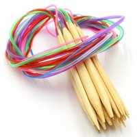 Wholesale Multi Color Tube Circular Carbonized Bamboo Knitting Needles Crafts Sewing Tools Durable Accessory cm Hot Sale js ff
