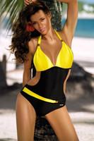 mayo yüzme toptan satış-Seksi Tek Parça Mayo Kadın Mayo Trikini Mayo Monokini Kadınlar için Kontrast Renk Blok Halter Beachwear Yastıklı Yüzme Suit