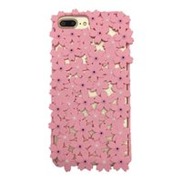 Wholesale diamond flower phone cases - Hybrid 3D Hollow Flower Diamond Phone Case Soft Silicone Shockproof Rubber Back Cover For iphone X 8 7 6S 6 plus With Opp Bag Aicoo