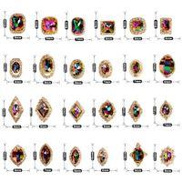 patrones cuadrados de encanto al por mayor-1PC Oval / Square Pattern Colorful Rhinestone de acrílico con Metal de oro alrededor de las decoraciones del encanto del arte del clavo # 276304