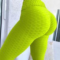 ingrosso donne leggins-Nuovo a nido d'ape donne stampate leggings fitness magro vita alta elastico push up legging allenamento pantaloni donne allenamento yoga leggins 2018