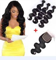Wholesale deep wave closure bundles - Brazilian Body Wave Human Hair Weaves 3 Bundles With 4x4 Lace Closure Bleach Knots Straight Loose Deep Wave Curly Hair Wefts With Closure