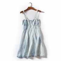 ingrosso camisole d'epoca-Donna estate vintage moda slim water wash tie-dying cotone casual canotta femminile alla moda colore sottile pullover denim top