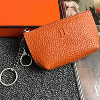 Wholesale key chain wallet for sale - Group buy Unisex Slim Zipper Coin Wallet Leather Fashion Design Men Women Letter Key Chain Holder Ladies bags Accessories Coin Purses With Box