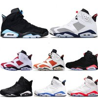 Wholesale maroon purple - Designer Men 6 Basketball Shoes Tinker Trainers Sneaker UNC Blue Black Cat White Infrared Red Carmine Maroon Mens Sports Sneakers Size 40-47