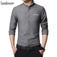Wholesale korean clothing mens dress shirts - New Fashion Casual Men Shirt Long Sleeve Mandarin Collar Slim Fit Shirt Men Korean Business Mens Dress Shirts Men Clothes M -5xl