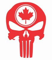 ingrosso autoadesivo foglia d'acero-Car Styling per Tall Punisher Skull Maple Leaf Vinyl Decal Sticker Camion bandiera canadese