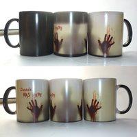 sıcak bardak rengi toptan satış-Yürüyüş Ölü Kupalar Kahve Çay Süt Fincan Sıcak Soğuk Isı Duyarlı Renk Değiştiren Seramik Kupa