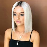ingrosso parrucche di gradiente-Parrucca tinta unita bobo capelli corti neri sfumati bianchi capelli corti diritti parrucca in fibra chimica parrucche sintetiche