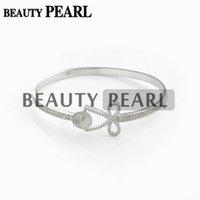 pulseiras de pérola bowknot venda por atacado-Pulseira de configurações de prata esterlina 925 lindo limpar zircão bowknot pulseira de base com grande pérola assento diy jóias presente