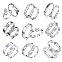 Wholesale Men Ring Design Stone - Fashion 18 Designs Sliver Plated Lovers Couple Rings Men Women Luxury Jewelry for Valentine's Day Wedding