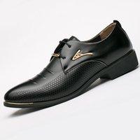 ingrosso uomini di scarpe da partito di marca-Brand New Summer Men's Dress Shoes Size 38-48 Black Classic Point Toe Oxfords for Men Moda Uomo Scarpe da uomo d'affari