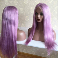 Wholesale wig purple long dark - Long Colored Purple Wigs 10--26 inch Lace Frontal Wigs Brazilian Straight Human Remy Hair Wigs Density 130% Pre Plucked 100% Human Hair