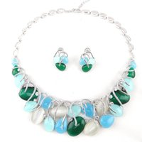 Wholesale indian necklaces stones online - 2018 hot sale top quality Jewelry Sets Blue and Green Stone Necklace and earrings Sets jewelry Women Fashion Charm jewelry cannt wait