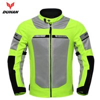 Wholesale men motorcycle summer jacket - DUHAN Motorcycle Jacket Motorbike Reflective Racing Jackets Summer Mesh Breathable Moto Clothing Black And Green ,D-133