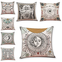 Wholesale blue green decorative pillows - Abstract Sun Pattern Linen Cushion Covers Home Office Sofa Square Pillow Case Decorative Pillow Covers Without Insert (18*18Inch)