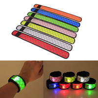Wholesale wholesale slap bands - Nylon LED Sports Slap Wrist Strap Bands Wristband Light Flash Bracelet Glowing Armband Flare Strap For Party Concert Armband 200pcs
