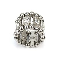 Wholesale wholesale stretch rings - Silver Round Crystal Rhinestone Jewelry Ring Stretch Elastic Finger Ring For Women Lady New Fasshion
