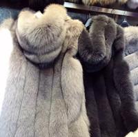 ingrosso cappuccio lungo della maglia di pelliccia-Womens Faux fox Fur Warm Vest Jacket Top Winterwear Donna inverno Gilet lungo con cappuccio Vest Coats Mantello senza maniche Cappotto WT43