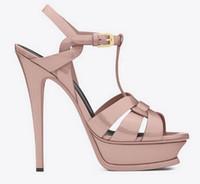 Wholesale burgundy patent leather platform heels - New Tribute Patent Soft Leather Platform Sandals Women Shoes T-strap High Heels Sandals Lady Shoes Pumps Original Leather