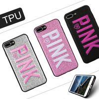 iphone rosa 3d venda por atacado-ROSA capa de design de moda glitter 3d bordado amor rosa phone cases para iphone x xr xs max samsung s9 s10 plus nota 9 com saco de opp