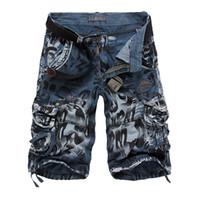 pantalones cortos de carga al por mayor-2018 Brand Design Men Summer Camouflage Cargo Shorts Bermuda Jeans Male Masculina Moda Casual Baggy Shorts de mezclilla