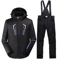 bavoirs imperméables noirs achat en gros de-New noir homme neige vêtements costume de snowboard en plein air imperméable à l'eau hiver Costumes costume de ski ensembles vestes + bavoirs pantalons -30