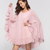 vestido de batwing amarillo de la gasa al por mayor-Vestido de la gasa de primavera y verano de las mujeres del o-cuello manga murciélago manga suelta vestido de la señora vestido corto rosa amarillo C3433