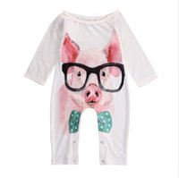 Wholesale baby boy pullover online - Baby Cartoon Printed Romper Pig Rabbit Fingers Autumn Baby Boy Girls Long Sleeve Jumpsuit Cotton Pullover M