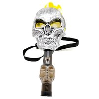 Wholesale Warrior Skull Mask - Bong Water Pipes Skull Head Shaped Silicone Smoking Pipe Water Pipe Warrior Mask Straight Pipe Oil Beaker Plastic Mask Acrylic Bong
