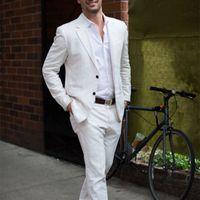 esmoquin marfil hombre al por mayor-Los últimos diseños de pantalón de abrigo marfil / blanco de lino traje casual para hombres 2017 Summer Beach Tuxedo Simple a medida 2 unidades chaqueta para hombre trajes