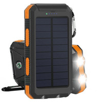 usb externes akku-ladegerät groihandel-Solar Ladegerät 10000mAh Solar Power Bank Tragbarer externer Akku Dual USB Solar Ladegerät mit 2LED Licht und Kompass