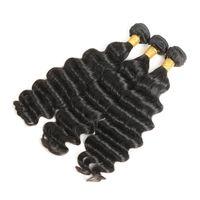 gevşek atkı saç uzantısı toptan satış-Perulu İnsan Saç Gevşek Derin Dalga 3 Demetleri Olmayan Remy Saç Uzatma Makinesi Çift Atkı Doğal Renk 10-28 inç