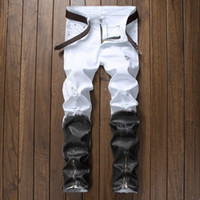 jeans blancs zippés hommes achat en gros de-Hommes Jeans Droite Jeans Déchiré Pour Hommes 2018 Zipper Fly Denim Hommes Pantalons De Mode Designer Noir Blanc Jean Mâle Taille 30-40