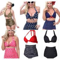 Wholesale Sexy Leopard Print - 6 Colors Women High Waist Polka Dot Plus Size Bikini Sexy Leopard Print Swimwear Summer Beachwear Set Bra Swimsuit Bathing Suits AAA359