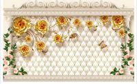 luxus-gold-tapete großhandel-Tapete 3d Wandbild für Wohnzimmer europäischen Luxus Gold stieg weiche Tasche römische Spalte TV Hintergrund Wand Wohnzimmer Restaurant Decke Wand