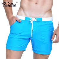 Wholesale Men S Sexy Swim - Taddlee Brand Men Swimwear Swimsuits Swim Trunks Sexy Men's Board Beach Boxer Shorts Surfing Solid Basic Plus Size Swim Shorts