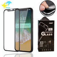 Wholesale color tempered glass online - For iPhone Plus X XR XS max D Full Cover Color Tempered Glass Soft Edge Screen Protector for iPhone8 Plus with Package