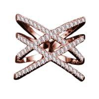 женщины с двойным крестом оптовых-Вся распродажаВинтаж Двойной Крест X Форма Кольца для Женщин Цирконий Micro Paved Горный Хрусталь Ювелирные Изделия Для персонализации Рождественские Подарки