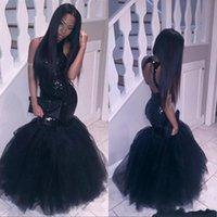 corsés de chicas sexy al por mayor-Sparkly Black Girls Mermaid African Dresses 2018 Halter Lentejuelas Tulle Sexy Corset Formal Cheap Party Pageant formal vestidos de noche