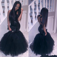 Wholesale pageant dresses size 14 girl for sale - Group buy Sparkly Black Girls Mermaid African Prom Dresses Halter Sequins Tulle Sexy Corset Formal Cheap Party Pageant formal dresses evening